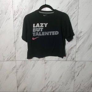 Nike Lazy But Talented Crop Short Sleeve Tee SZ L